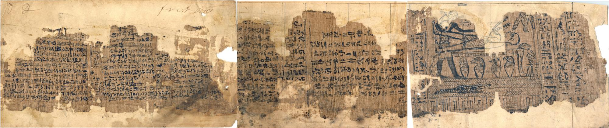 Papiros de José Smith I, XI y X (de derecha a izquierda), pertenecientes antiguamente a un sacerdote egipcio llamado Hor a través de Joseph Smith Papers Project