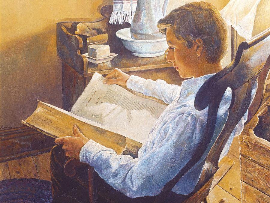 José Smith escudriñando las Escrituras